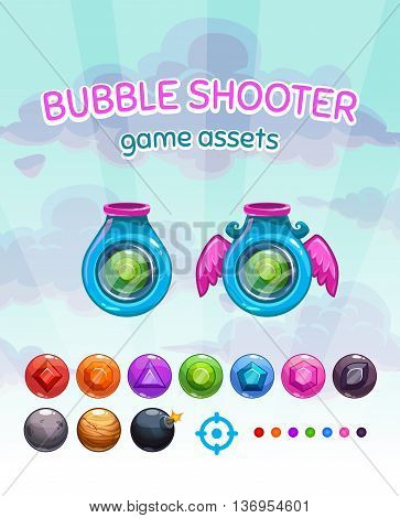 Bubble shooter game assets, vector gui elements kit on cloudy sky background, shoot machines and colorful glossy gem missiles for game development