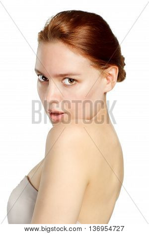 Young brunette portrait. Isolated on white background.