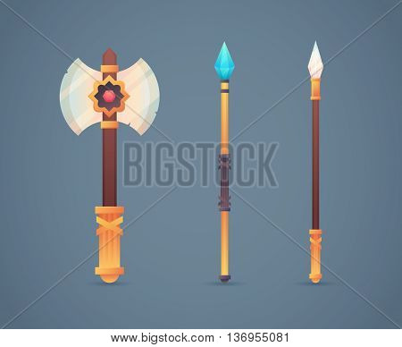 Fantasy Medieval Cold Weapon Set In Flat-style