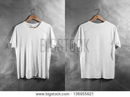 Blank white t-shirt front and back side view on hanger, design mockup. Clear plain cotton tshirt mock up template. Apparel store logo branding display. Crew shirt backwards surface hang on wood hanger