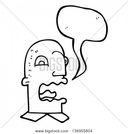 freehand drawn speech bubble cartoon burping man