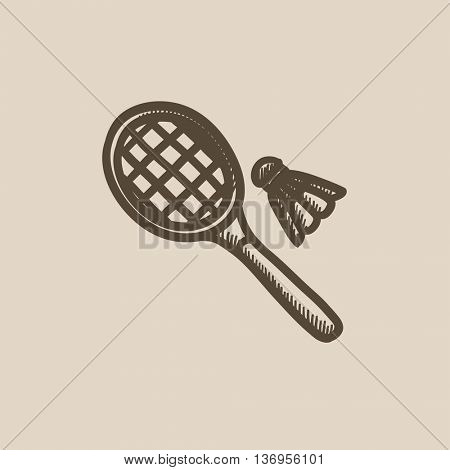 Shuttlecock and badminton racket vector sketch icon isolated on background. Hand drawn Shuttlecock and badminton racket icon. Badminton racket sketch icon for infographic, website or app.
