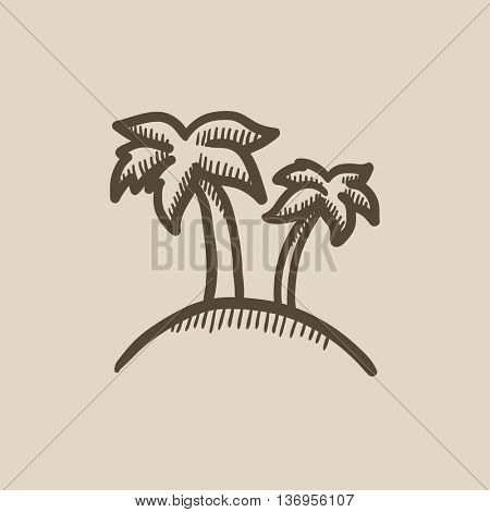 Two palm trees on island vector sketch icon isolated on background. Hand drawn Two palm trees on island icon. Two palm trees on island sketch icon for infographic, website or app.