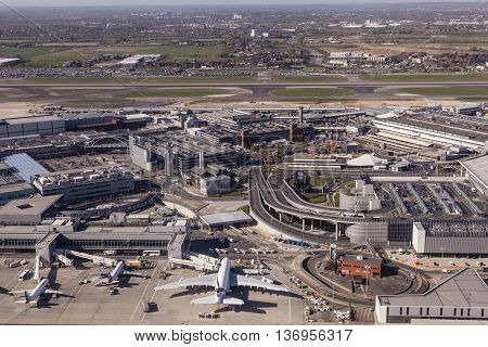LONDON UK - APR 20 2016: Aerial view of the London Heathrow international airport. Hillingdon England United Kingdom.