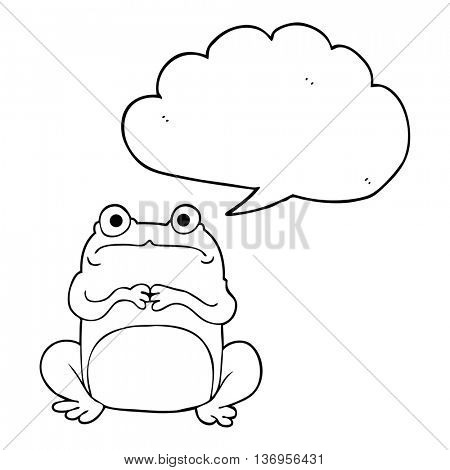 freehand drawn speech bubble cartoon nervous frog