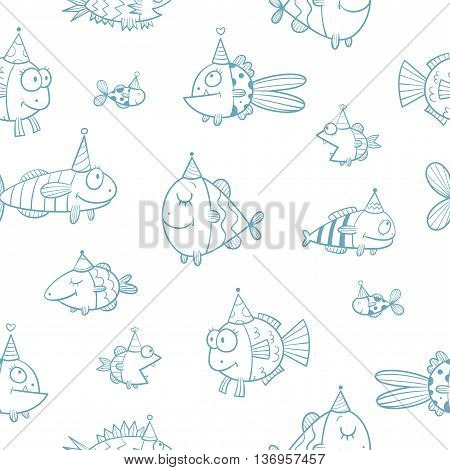 Birthday seamless pattern with cute cartoon fishes  in party hat  on  white background. Underwater life. Funny sea animals. Children's illustration. Vector contour image.