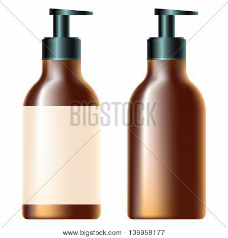 bottle with soap dispenserbrown bottle with soap dispenser white label for design