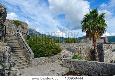 HERCEG NOVI, MONTENEGRO - SEPTEMBER 25, 2015: Famous Fortress Kanli Kula (Bloody Tower) in popular resort town Herceg Novi Montenegro
