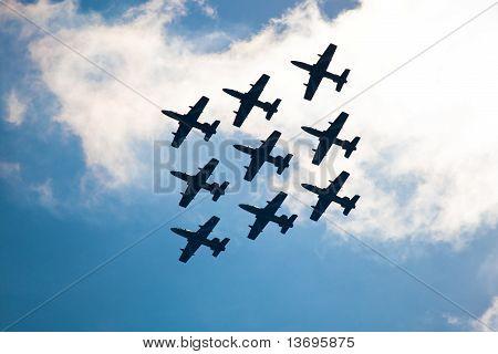 Zhukovskiy, Russia - 22 August, 2009: Civil Airplanes Making Aerobatic Manoeuvres At Intenratiol Air