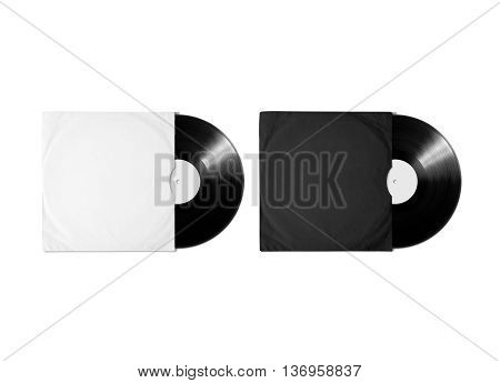 Blank white and black vinyl album cover sleeve mockup, isolated, clipping path. Gramophone music record clear surface mock up. Paper sound shellac disc label template. Cardboard vinyl disk package