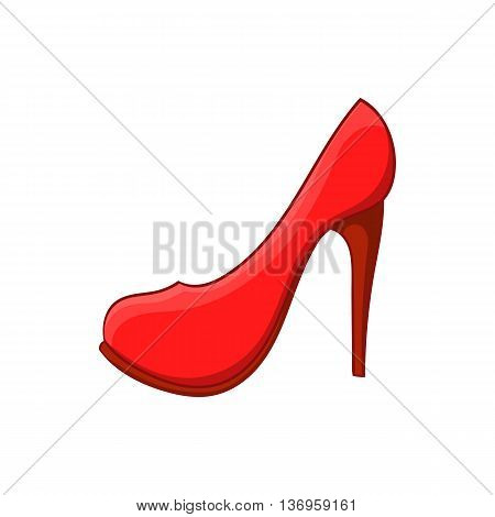 Red high heel shoe icon in cartoon style on a white background