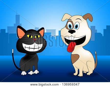 City Pets Indicates Domestic Dog Cat And Buildings