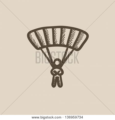 Skydiving vector sketch icon isolated on background. Hand drawn Skydiving icon. Skydiving sketch icon for infographic, website or app.
