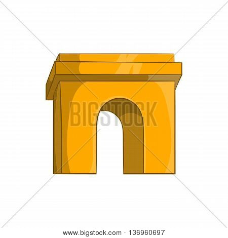 Triumphal arch, Paris icon in cartoon style on a white background