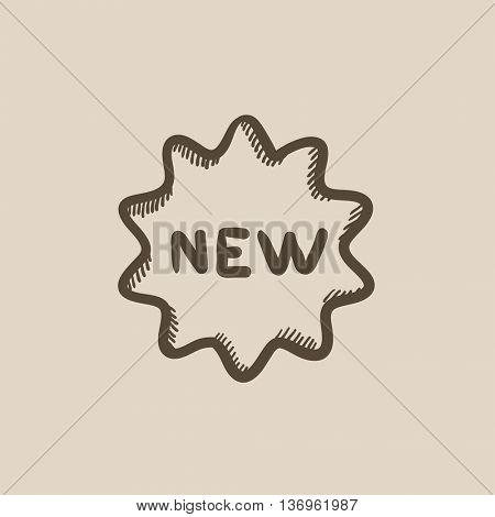 New tag vector sketch icon isolated on background. Hand drawn New tag icon. New tag sketch icon for infographic, website or app.
