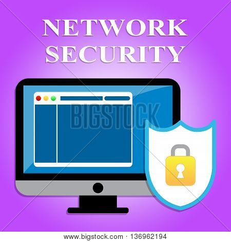 Network Security Represents Global Communications And Computers