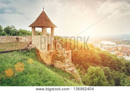 Fortification wall in castle Trenchin Slovak Republic