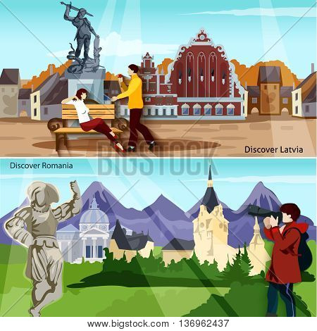 European Countries Flat Concept. Europe And Sights Horizontal Compositions. European Cities Vector Illustration. European Cityscapes Isolated Set. Discover Latvia And Romania Design Symbols.