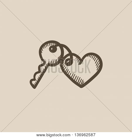 Trinket for keys as heart vector sketch icon isolated on background. Hand drawn Trinket for keys as heart icon. Trinket for keys as heart sketch icon for infographic, website or app.