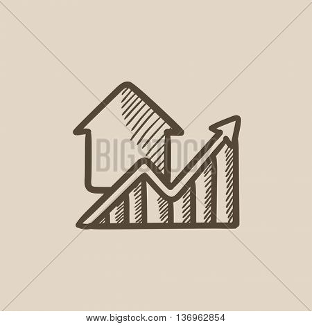 Growth of real estate prices vector sketch icon isolated on background. Hand drawn Growth of real estate prices icon. Growth of real estate prices sketch icon for infographic, website or app.