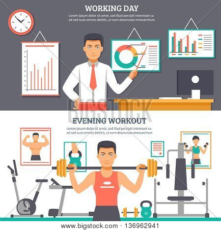 Two horizontal man daily routine banner set with descriptions of working day and evening workout vector illustration