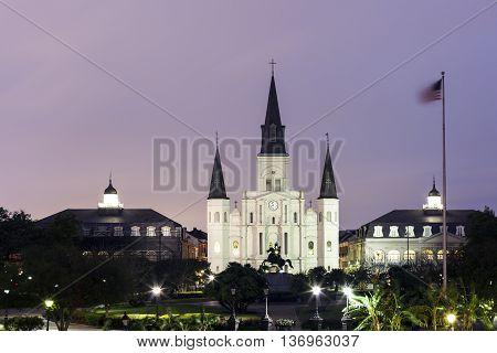 Cathedral Basilica of Saint Louis illuminated at night. New Orleans Louisiana United States