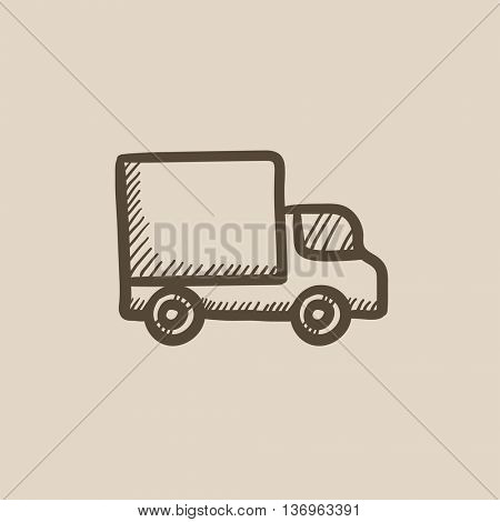 Delivery van vector sketch icon isolated on background. Hand drawn Delivery van icon. Delivery van sketch icon for infographic, website or app.