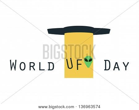 World Ufo Day, Ufo With Beam, Alien Abductions. Flying Saucer. Ufo Icon Vector Illustration.