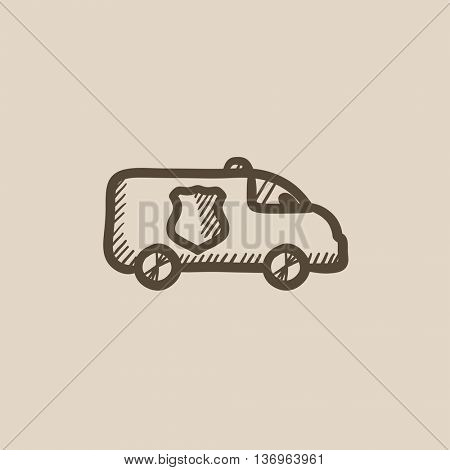 Police car vector sketch icon isolated on background. Hand drawn Police car icon. Police car sketch icon for infographic, website or app.