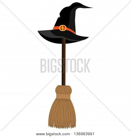With hat and broomstick icons on white background, vector illustration.