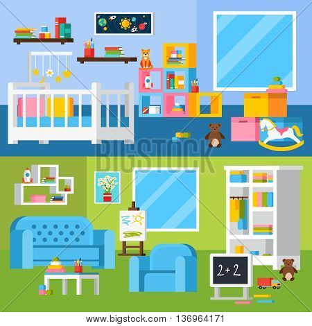 Nursery room flat banners with cradle furniture for little child shelves books chalkboard and toys vector illustration