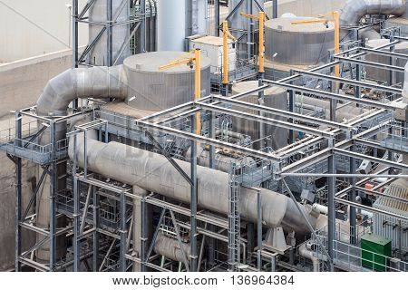Close-up of the pipes and structure at the back of of the Delimara Thermal Power Station Marsaxlokk Malta