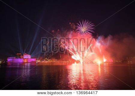 Fireworks over Grand Harbor during The Pagent of the Seas June 2016.
