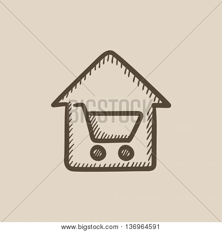 House shopping vector sketch icon isolated on background. Hand drawn House shopping icon. House shopping sketch icon for infographic, website or app.