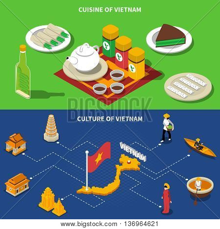 Vietnam cuisine culture and touristic places of interest 2 isometric banners with country map isolated vector illustration