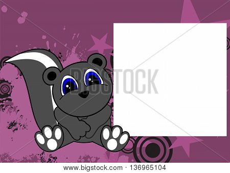 cute little skunk cartoon frame background in vector format