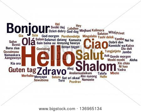 Vector concept or conceptual abstract hello or greeting international word cloud in different languages or multilingual, metaphor to world, foreign, worldwide, travel, translate, vacation or tourism