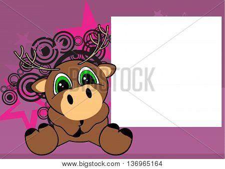cute little deer cartoon frame background in vector format