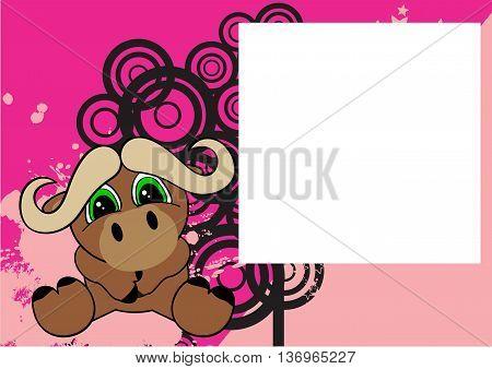 cute little oxen cartoon frame background in vector format