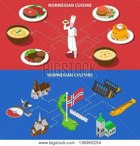 Norwegean culture with folklore musical instrument and popular fish cuisine dishes 2 isometric banners abstract isolated vector illustration
