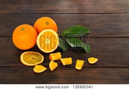 One half of tangerine orange fruit ready to eat.
