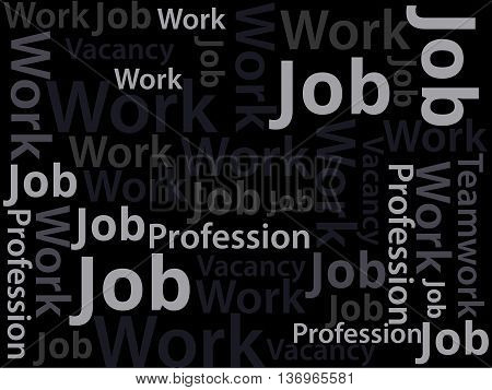 Job. Job Search. Banner Ads, Job Search. The Text On A Black Background. Vacancy. Text Collage.