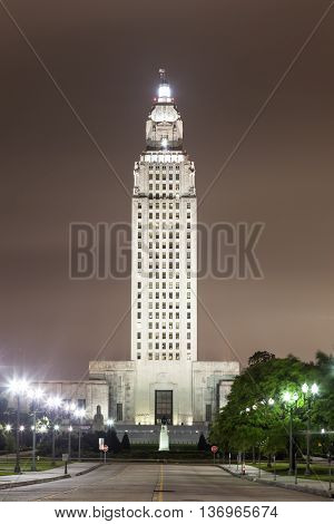 The State Capitol tower in the city of Baton Rouge illuminated at night. Louisiana United States