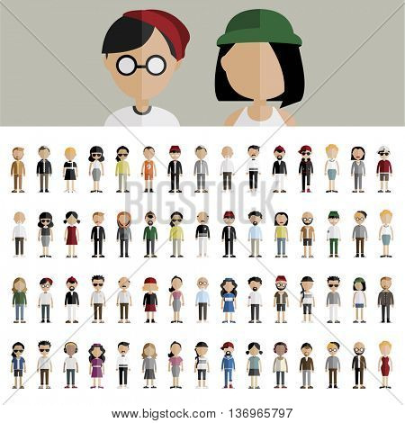 Diversity Community People Flat Design Icons Concept