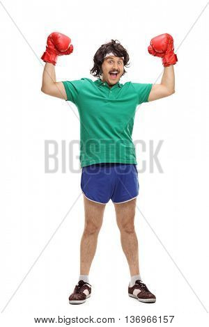 Full length portrait of a retro boxer with red boxing gloves isolated on white background