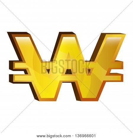 Currency money won symbol icon over white background, vector illustration.
