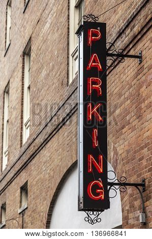 Parking sign in the city of New Orleans. Louisiana United States