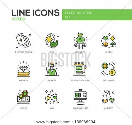 Poker - modern vector line design icons and pictograms set. Playing cards, dice, suits, jackpot, wealth, banker, gaming machine, exchange, money, win poker online cherry