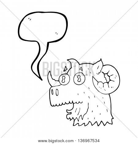 freehand drawn speech bubble cartoon ram head