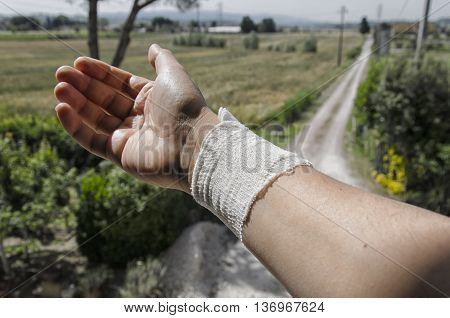 View of bandage due to a burn